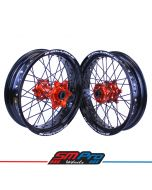 KTM Supermoto Wheels - Orange Hubs / Black Rims / Orange Nipples / Black Spokes