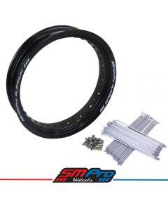 Supermoto Honda CRF 450 R (13-19) 17 x 5.00 Rim & Spokes Set Rear - Gloss Black