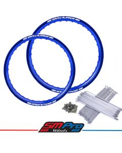 KTM SX/SXF 125-450 (03-19) Rim & Spoke Set (SMPro) 21 &19 Front/Rear - Blue