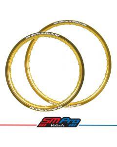 Gloss Gold Rim - MX Drilling - 21 & 19 - SM Pro Platinum - Pair
