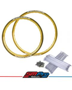 Honda - Gloss Gold Rim and Spokes Set 21' & 19' MX Drilling (36)
