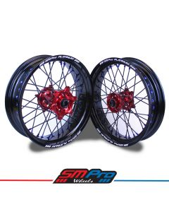 Honda Supermoto Set - Red Hubs / Black Rims / Blue Nipples