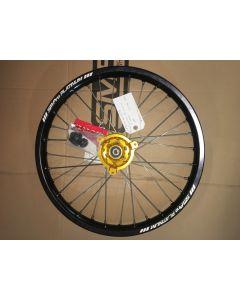 SM Pro PLATINUM Wheel - Suzuki RM85 (02-19), Yamaha YZ85 (02-19) Junior MX - Front (19 x 1.60) - Gold Hub / Gloss Black Rim / Nickel Nipples