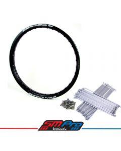 KTM - SX SXF EXC Front - Matte Black Rim / Silver Spoke Kit (21 x 1.60)