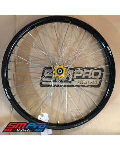 SM Pro Speedway Wheel (Front) - 23 x 1.60 - Gold Hub / Gloss Black Rim / Nickel Nipples