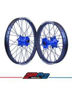 Yamaha Blue Hubs / Matte Black Rims / Blue Nipples / Black Spokes