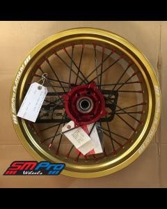 SM Pro SUPERMOTO Wheel - Honda - CRF 250R (14-19) CRF 450R (13-19) - Rear (17 x 4.25) - Red Hub / Gloss Gold Rim / Red Nipples / Black Spokes