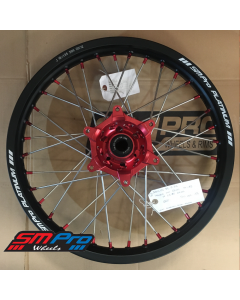 SM Pro PLATINUM Wheel - Honda - CR 125 - Rear (19 x 1.85) -  Red Hub / Matte Black Rim / Red Nipples