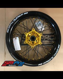 SM Pro SUPERMOTO Wheel - Suzuki - RMZ 250 (07-19) RMZ 450 (05-19) RMX 450 (07-19) - Rear (17 x 5.00) - Gold Hub / Gloss Black Rim / Gold Nipples / Black Spokes