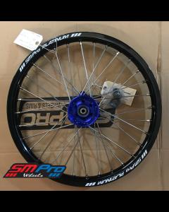 SM Pro PLATINUM Wheel - Yamaha YZ85 (02-19) - Junior MX - Front (19 x 1.60) - Blue Hub / Gloss Black Rim / Nickel Nipples