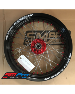 SM Pro SUPERMOTO Wheel - Honda - CR 125/250 (02+) CRF 250/450 R (All Years) - Front (16.5 x 3.50) - Red Hub / Gloss Black Rim / Red Nipples - ATS FITTED