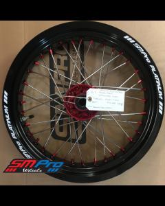 SM Pro SUPERMOTO Wheel - Honda - CR 125/250 (02+) CRF 250/450 R (All Years) - Front (16.5 x 3.50) - Red Hub / Gloss Black Rim / Red Nipples