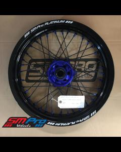 SM Pro SUPERMOTO Wheel - KTM (Husaberg, Husqvarna) - 22+26mm Spindle (03-19) - Front (17 x 3.50) - Blue Hub / Gloss Black Rim / Blue Nipples / Black Spokes