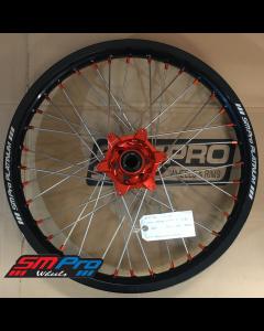 SM Pro Platinum Wheel - KTM (Husaberg, Husqvarna) - 22+26mm Spindle (03-19) - Front (21 x 1.85) -  Orange Hub / Gloss Black Rim / Orange Nipples