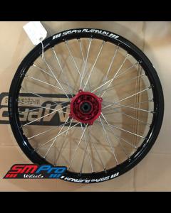 SM Pro PLATINUM Wheel - Honda CRF 150 Junior MX (All Years) - Front (19 x 1.60) - Red Hub / Gloss Black Rim / Nickel Nipples