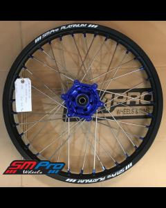 SM Pro PLATINUM Wheel - Yamaha - WR 250R (08-19) - Front (21 x 1.60) - Blue Hub / Matte Black Rim /Blue Nipples