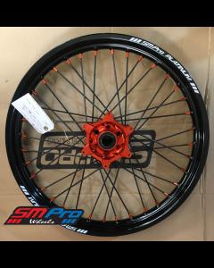 SM Pro PLATINUM Wheel - KTM 950/990 - Twin Front (21 x 2.15) Orange Hub / Gloss Black Rim / Orange Nipples / Black Spokes