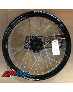 SM Pro PLATINUM Wheel - Africa Twin CRF1000L (2016-on)  - Twin Disc Front (21 x 2.15) Black Hub / Gloss Black Rim / Nickel Nipples -ATS Fitted / Red tape